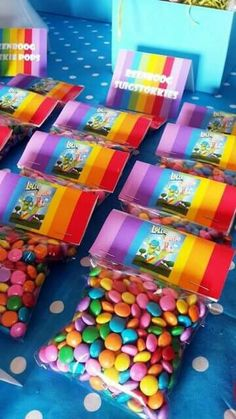 Rainbow Sweets in Packets with Lollos Bag Toppers 4th Birthday Parties, 3rd Birthday, Rainbow Sweets, Cloud Party, Bag Toppers, Party Packs, Childrens Party, Party Time, Sprinkles