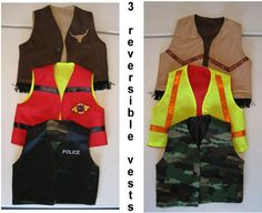 Boys Reversible Vests Fun Play Make Believe Dress Up Set of 3 - RESERVED on Etsy, $68.23 CAD