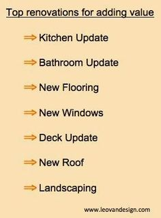 Top renovations for adding value to your home infographic- Leovan Design Do It Yourself Home, Improve Yourself, Kitchen Sink Interior, Home Remodeling Contractors, Building Contractors, Home Staging Tips, Updated Kitchen, Next At Home, Home Repair