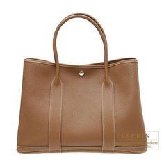 f766edf295 Hermes Garden Party Bag PM Gold Negonda Leather Silver Hardware. Hermes BoxHermes  BirkinHermes ...