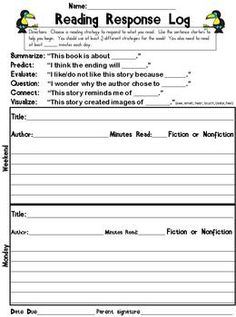"Reading Response Log - For homework! LOVE THIS. Students must choose three different sentence starters throughout the week (which utilize Bloom's) and also record how many minutes they are reading every night & total for the week. Begins w a ""weekend"" slot, which I might make into Extra Credit. Designed to be due Fridays."
