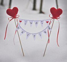 Rustic Wedding Cake Topper Just Married by InesesWeddingGallery