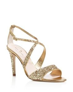 kate spade new york Felicity Glitter Crisscross High Heel Sandals | Bloomingdale's