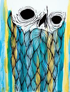 Blue and Yellow Creep Art Print