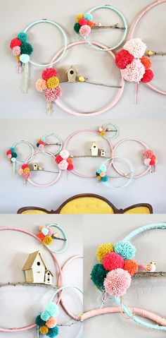 ideas for embroidery hoop wreath pom pom Yarn Crafts, Kids Crafts, Craft Projects, Arts And Crafts, Felt Projects, Preschool Crafts, Embroidery Hoop Crafts, Embroidery Art, Embroidery Hoop Nursery