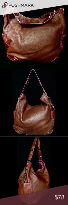 JUICY COUTURE Cowhide Brown Leather Bucket Hobo This JUICY COUTURE cowhide  brown pebbled Leather with subtle c6f5ad617cdc6