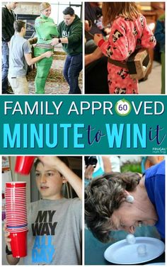 Family approved Minute to Win It game ideas. These kid-friendly games will make … Family approved Minute to Win It game ideas. These kid-friendly games will make family game night the ultimate party. Two to one hundred players, ages zero to whatever! Family Games To Play, Family Games Indoor, Family Party Games, Family Reunion Games, Fun Party Games, Games For Parties, Birthday Party Games For Kids, Family Picnic Games, Preteen Birthday Parties