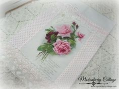 Guest Tea towel Pink roses with verse