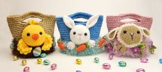 Easter Treat Bags Bunny Chick and Lamb Crochet by mojimojidesign