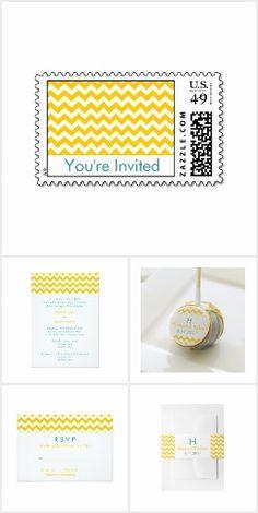 Turquoise & Yellow Chevron Wedding Collection
