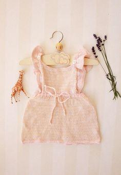 Vintage Baby Dress in Pale Rose Knit 0-6 months, Scandinavian Retro Baby Girl…