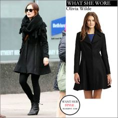 WHAT SHE WORE: Olivia Wilde in black wool coat in New York on March 6 ~ I want her style - What celebrities wore and where to buy it. Celebrity Style