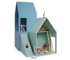 Puppenhaus von Hase Weiss, Tower House Built with your children your own houses , be creative and have fun. Cardboard Dollhouse, Cardboard Toys, Dollhouse Dolls, Tower House, Modern Dollhouse, Modern Kids, Miniature Houses, Wood Toys, Little Houses