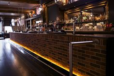The Terrace Bar in Leicester, illuminated with Ledridge Lighting LED ribbon.