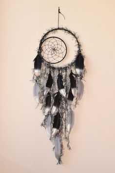Silver and  Black Dream catcher Crescent Moon by BlueDreamcatcher