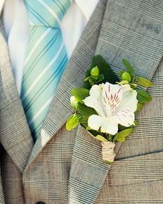 boutonniere of Alstroemeria and hypericum berries. could be an option for your groom Boutonnieres, White Boutonniere, Groom Boutonniere, Whimsical Wedding, Floral Wedding, Wedding Bouquets, Wedding Flowers, Prom Flowers, Wedding Groom