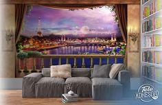 Fotomurales: Noche puesta de sol en París con vistas a un balcón #parís #ciudad #decoración #pared #TeleAdhesivo Floor Murals, Wall Murals, Wall Art, Chula, Fireworks, Balcony, Entrance, Flooring, Studio