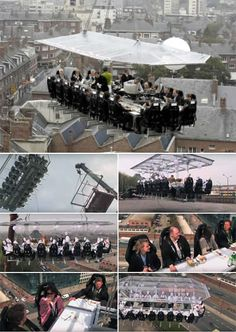 """""""Dinner in the Sky"""" is a Brussels based restaurant that serves dinner for up to 22 people… 150 feet in the air! The specially-designed table and chairs are lifted by a crane. Dinner anywhere in Belgium will set you back almost 8 thousand euros; other locations are also available. Remember, you must wear your seat belt, and don't drop your fork!"""
