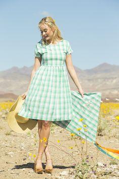 Share your Shabby!  Lillian Stretch Poplin Plaid Dress Green