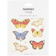 Paperself Butterflies Temporary Tattoo ($8.87) ❤ liked on Polyvore featuring accessories, body art and multi