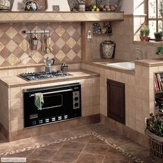 Floor features Vallano 12 x 12 in colors Milk Chocolate and Dark Chocolate with coordinating Universal 3 x 12 Mosaic Stone Floor Border. Wall features Vallano 6 x 6 in colors Macadamia and Milk Chocolate with coordinating 6 x 6 Universal Wall Accent shown in a diamond rug pattern.
