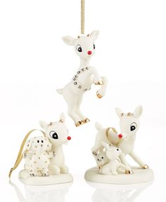 Department 56 Rudolph 50th Anniversary Porcelain Bisque Ornament Collection - Holiday Lane - Macy's