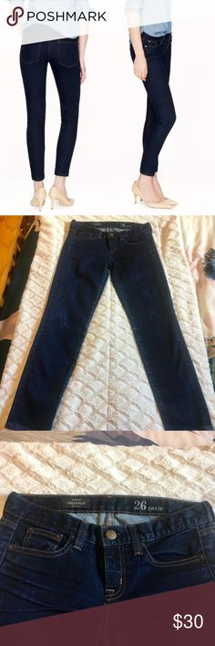 J. Crew toothpick ankle jeans A re-posh item. Classic ankle toothpick jeans from J. Crew in excellent condition! 28 inch inseam in a dark blue wash. Selling because I need a size 25. J. Crew Jeans