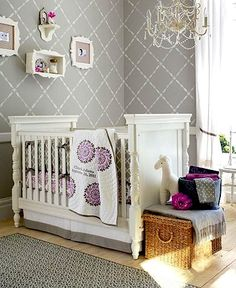 nursery wall stenciling - soft gray and white