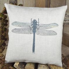 Dragonfly Linen Cushion