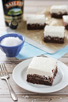 Chocolate Stout Brownies with Irish Cream Frosting   cookiemonstercooking.com