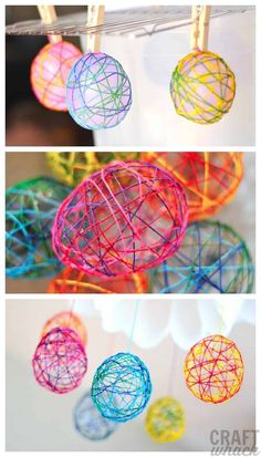 How to make fun and colorful string Easter eggs using embroidery thread and balloons. #stringeastereggs #eastercraft