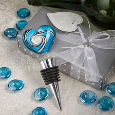 Add a hint of Italy to your next Wine or Vineyard wedding with a unique and intricately designed Murano heart glass bottle stopper.