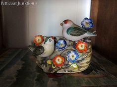 Occupied Japan Bird planter, Petticoat Junktion Primitive, Planters, Birds, Japan, Vintage, Porcelain Ceramics, Bird, Couture Facile, Plant