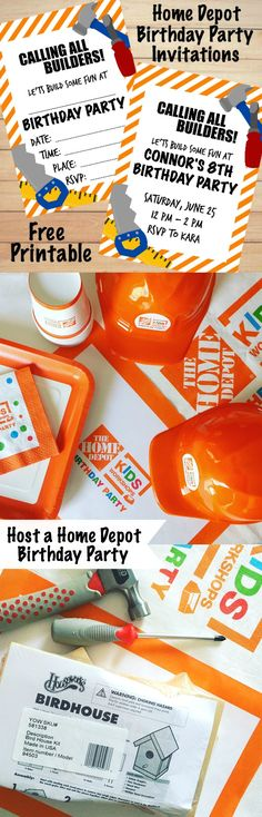 Host a Home Depot Birthday Party - Free Printable Birthday Invitations @cratesandpallet