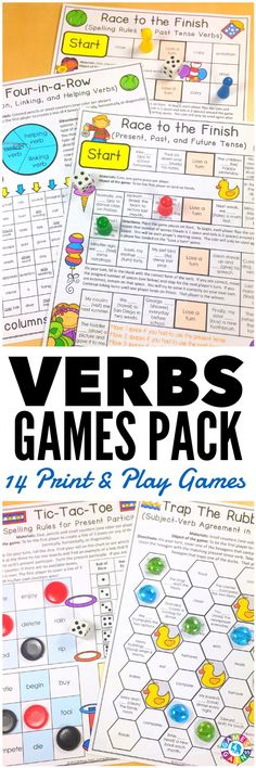 """LOVE these low-prep games! My students have so much fun playing them!"" This Verbs Games Pack contains 14 fun and engaging printable board games to help students to practice action verbs, linking verbs, helping verbs, past tense verbs, present tense verbs, future tense verbs, irregular verbs, and much more!"