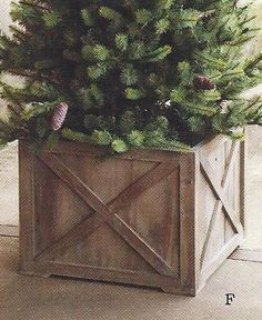 1000 ideas about christmas tree stands on pinterest for Wooden box tree stands