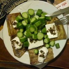 Slices of Grilled Eggplant, Healthy White Cheese (Low-Fat; Low-Sodium), Chunks of Fresh Cucumber, Sprinkles of Trio Mix: Thyme, Sesame Seeds, & Olive Oil...