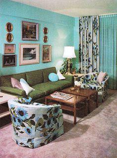 The Giki Tiki 1960s Living Room, Living Room Decor, 1960s Decor, Blue Leaves, Art Boards, Ottoman, Chair, Printmaking, Furniture
