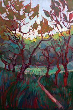 @ Etsy--Filtered Light Oak Trees Impressionism Landscape Original Oil Painting 24x36