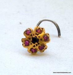 vintage antique 18k gold nose stud nosepin by indiantribaljewelry, $139.00! SO EXPENSIVE BUT I NEED THIS HOLY COWWWWW
