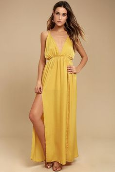 930ea203dbe5 Let the exotic adventure begin in the Uncharted Waters Mustard Yellow Satin  Maxi