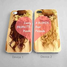 BBFF Case Every Brunette Needs A Blonde Best Friends Couples Phone Case iPhone 4/4S, 5/5S, 5C Series - Hard Plastic, Rubber Case