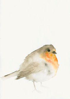 Robin Watercolor Print by dearpumpernickel on Etsy