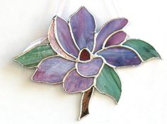 Stained glass mauve magnolia flower stained glass art home or