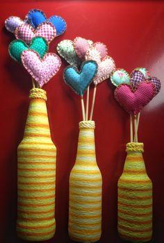 Garrafa decorativa (Kit com 3 garrafas) no Elo7 | Atelier Amanda Dantas (813466)