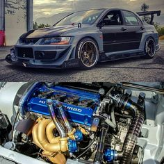 Lancer Evo with big Turbo twinscroll charger, check also our website for more content Tuner Cars, Jdm Cars, Rougue One, Jdm Engines, Race Engines, Evo 8, Mitsubishi Cars, Japanese Sports Cars, Mitsubishi Lancer Evolution