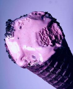 Colorful Black Raspberry Ice Cream Cone by Pink Sherbet Photography