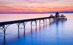 "The elegant pier at Clevedon in Somerset was built in the 1860s, partially from discarded Isambard Kingdom Brunel railway lines. Sir John Betjeman once described it as ""the most beautiful pier in England""."