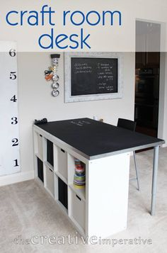 25+ Creative DIY Projects to Make a Craft Table --> Craft Room Desk with Shelves #furniture #diy #craft_table