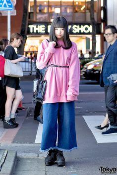 Harajuku Girl in Pink Sweatshirt, E Hyphen BonBon & Tokyo Bopper Platforms